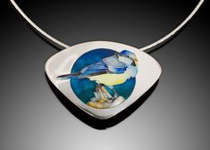 "This sweet little titmouse is straight out of the garden! Materials: Champlevé & cloisonné Enamels on Fine silver Pendant Size: 2.2"" x 1.5"" Necklace Length: 16"" or 18"" Want to learn how this pendant was made? check out this video: https://www.youtube.com/watch?v=D0d5lEyqXR4&t=295"