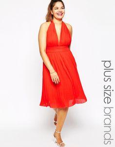 Club+L+Plus+Size+Pleated+Halter+Marilyn+Dress