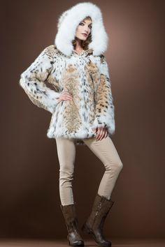 Hooded American Lynx and Fox Anorak Fur Jacket