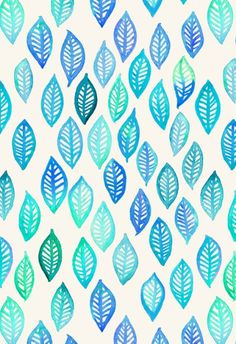 Watercolor Leaf Pattern in Blue & Turquoise Art Print by Micklyn