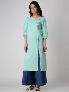 Buy Turquoise Khadi Cotton Kurta Online at Jaypore.com Plain Kurti Designs, Simple Kurti Designs, Kurta Designs Women, Sleeves Designs For Dresses, Dress Neck Designs, Blouse Designs, Chudidhar Designs, Women's Fashion Dresses, Fashion Suits