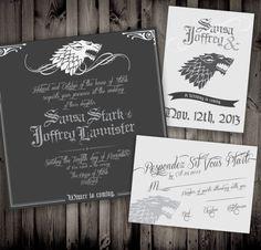 Estas invitaciones de la Casa Stark de Game of Thrones son geniales para las bodas de invierno:   18 Invitaciones de boda que harán increíblemente feliz a tu nerd interior