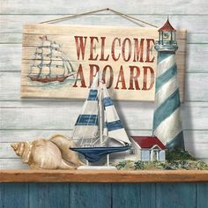 Barewalls has high-quality art prints, posters, and frames. Art Print of Welcome Aboard. Search 33 Million Art Prints, Posters, and Canvas Wall Art Pieces at Barewalls. Decoupage, Poseidon, Posters Vintage, Nautical Art, Sewing Art, Foto Art, Beach Signs, Cross Paintings, Beach Crafts