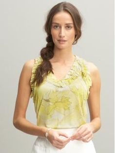 SF Stylist - love the airy feminine blouse in soft pastel with white or light bottoms. Sleeveless is great for summer.