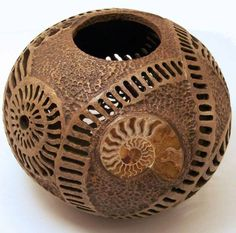 "I don't know where these gourds come from.Gourd Art - ""Ammonite gourd"" by Phyllis Sickles Hand Painted Gourds, Decorative Gourds, Coconut Shell Crafts, Gourd Lamp, Creation Deco, Nature Crafts, Sculpture, Ancient Art, Wood Carving"