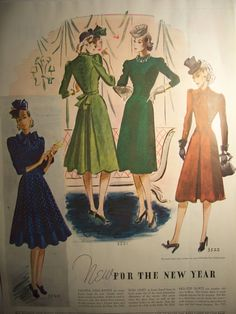 1940 MCCALLS FASHION Pattern Advertisement 1940s Frocks Dresses Costumes Fashion Decor Bedroom Decor Ready To Frame. $7.50, via Etsy.