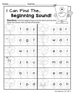 March Printable Packet - Kindergarten Literacy and Math. Beginning Sounds Worksheet for St. Preschool Phonics, Free Kindergarten Worksheets, Teaching Phonics, Phonics Activities, Kindergarten Literacy, Teaching Reading, Free Worksheets, Learning, Teaching Ideas