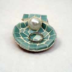 Mosaic Shell Wedding Ring Holder with Pearl by LiveInMosaics. Perfect gift for an engagement or new bride.