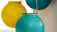 Make Hanging Glass Lanterns   fourth of July use red white and blue