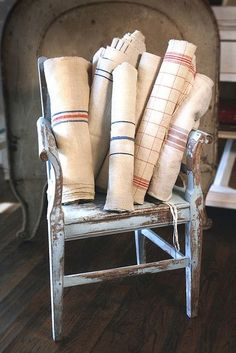Grain sack everything. Want a quick way to get a really impactful, rustic tone in your space? Add grain sack. This could be a pillow, hand towels, lamp shades a table runner or just the iconic fabric. The grain sack could be antique or reproduction. The look is still there no matter what. You can…
