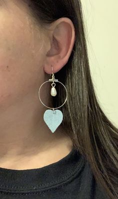 Excited to share this item from my #etsy shop: Denim jean fabric hoop heart earrings geometric boho hippie round circle blue black dangle drop unique statement handmade gift casual pearl#denim#jean#fabric#hoop#heart#earrings#round#circle#geometric#blue#black#boho#hippie#unique#statement#handmade#homemade Denim Earrings, Big Earrings, Round Earrings, Leaf Earrings, Tassel Earrings, Silver Earrings, Jeans Fabric, Stainless Steel Earrings, Boho Hippie