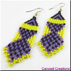 Magical Dancer Southwestern Seed Bead Dangle Earrings TAGS - Jewelry, Earrings, Beaded, native american, carosell creations, glass, seed beads, yellow, purple, black, dangle, chandelier, pierced, accessories, holiday gift idea, woven, weaved, brick stitched, hand made, bugle, ladies, polka dots, spirited, indian, tribal, native american, southwestern, womenMagical Dancer Southwestern Seed Bead Dangle Earrings in Purple, Yellow and Black