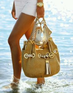 Sexy Micheal Korr's Silver and Gold hand bag