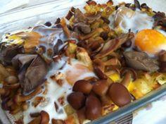 Receta de Mix de patatas, setas y huevo al horno de dificultad Muy fácil para 4 personas lista en 45 minutos.