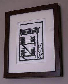 Original Linocut Print  Brooklyn building in black  by catorart, $25.00