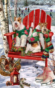 "New for 2100! Wire Fox terrier Christmas cards are 8 1/2"" x 5 1/2"" and come in packages of 12 cards. One design per package. All designs include envelopes, your personal message, and choice of greeting. Select the inside greeting of your choice from the menu below.Add your personal message to the Comments box during checkout."