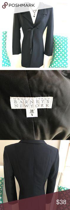 Barneys NY Black Tie Front Midi Blazer Size 4 Double breasted tie front Blazer, midi length, rear vent, tapered at natural waist Barneys New York Jackets & Coats Blazers