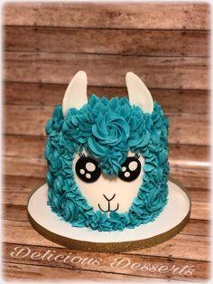 Llama theme cake Pretty Cakes, Cute Cakes, Beautiful Cakes, Amazing Cakes, Birthday Cake, Llama Birthday, 10th Birthday, Birthday Ideas, Animal Cakes