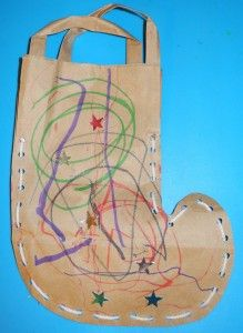 Make stockings from paper bags. Christmas crafts