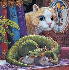 Randal Spangler saw his work at the Clear lake art festival in Iowa. Gotta get one of his originals next year. Dragon Cat, Baby Dragon, Magical Creatures, Fantasy Creatures, Fantasy Dragon, Fantasy Art, Randal, Lake Art, Year Of The Dragon