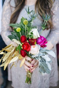 love this funky bouquet, photo by Rachel Whyte http://ruffledblog.com/texas-gemstone-wedding #weddingflowers #weddingbouquet #flowers