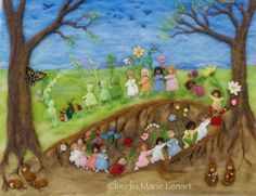 This is my interpretation of the endearing Root Children by Sibylle von Olfers, a Waldorf favorite. Created in 3-d needle felted wool, it has a multicultural feel. The original piece is 48 by 36 inches and took about 4 months to complete. It was even featured in a television news segment about my work. The original needle felted painting was a commission, but I am offering the image as a print.