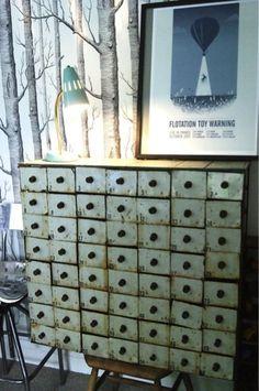 Vintage mid-century industrial metal cabinet drawershaberdasherypigeon holes