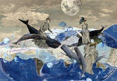 "The Grand Tour: Riding the Waves mixed media 27"" x 19"" by: Sara Pearce- Paper with a Past"