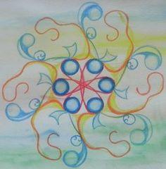 mandala, getekend met inktense potlood, op ecoline achtergrond