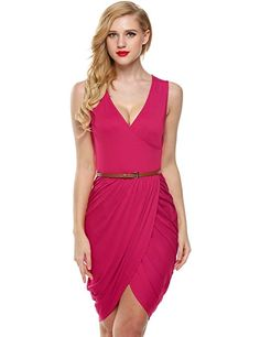 Meaneor Women's Solid Color Wrapped V-Neck Ruched Tulip Shape Skirt Dresses (White M)  The best clothing deals are fashion forward designs that are  in style and that you are comfortable in.  Therefore take a look at these best clothing deals under $10. There are many types of dresses to chose from  A line dress, Maxi dress, flowing dress and you will find all kinds of stylish  colors such as red, blue, purple, green, black and yellow.