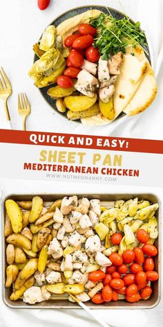 Looking for a quick and easy weeknight dinner that only involves the cleanup up of one sheet pan? Look no further than this delicious sheet pan Mediterranean chicken! Complete with the addition of potatoes, artichokes, and tomatoes. Perfect served alone or with a side of pita and hummus! Duck Recipes, Best Chicken Recipes, Meal Recipes, Hummus And Pita, Fancy Dinner Recipes, Whole Roasted Chicken, Mediterranean Chicken, Pressure Cooker Chicken, Artichokes
