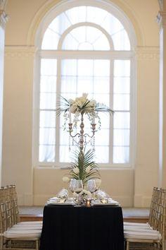 3 arm Candelabra Centerpiece With Flowers and Palm Fronds Gold Candelabra, Candelabra Centerpiece, Wedding Centerpieces, Temperley London Dress, Elegant Wedding, Wedding White, Elizabeth Anne, Garden Wedding Inspiration, Garden Party Wedding