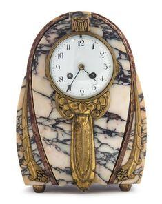 An Art Deco Marble and Brass Clock, Pilliol & Erdreich, Height 12 inches.