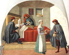 DOMENICO, il GHIRLANDAIO e aiuti - Oratorio dei Buonomini di San Martino - Firenze - Le opere di misericordia: visitare gli infermi - affresco - fine 1500