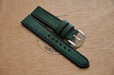 20mm dark green vintage handmade buffalo leather by CentaurStraps