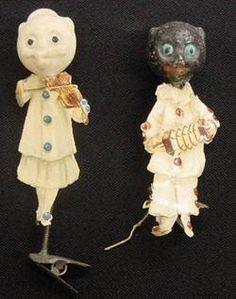 Scrap and paper mache clip figurals   (collection of Linda Pastorino)