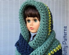 Crochet Pattern * LOGAN HOODED INFINITY scarf * Instant Download Pattern #508 *Baby Toddler Child Teen Adult * bulky * easy * pdf * tassel