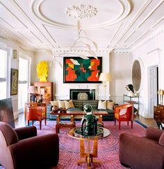 Zen Living Rooms, L Shaped Living Room, Art Deco Living Room, Dining Room Wall Art, Living Room Designs, Living Area, Colorful Interior Design, Eclectic Design, Contemporary Interior Design