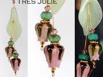 Jade Anhänger, Rosenknospen,Lampwork, rosa-grün