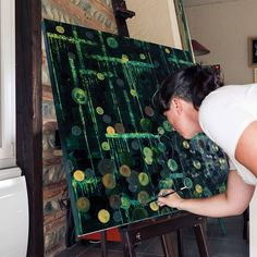 2015 - Hélène - #workinprogress #painting #canva #contemporaryart #green #bubbles #arianebaffie
