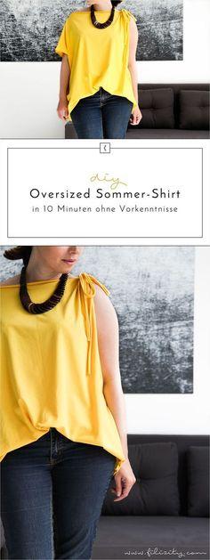 DIY: Trend-Shirt in 10 Minuten selber nähen Diy Fashion Tops, Diy Fashion Accessories, Diy Trend, Diy Mode, Diy Shirt, Textiles, Sewing Patterns Free, Boho Outfits, Winter Outfits