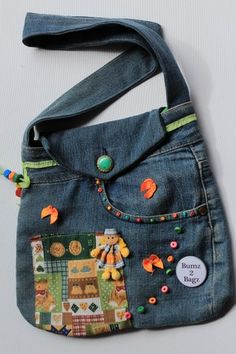 Children bags i make Only Jeans, Jean Purses, Denim Purse, Denim Crafts, Recycle Jeans, Boho Bags, Bag Patterns To Sew, Fabric Bags, Kids Bags