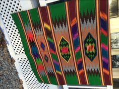 Southwestern Look Wool Blanket Vibrant Colored Design Native American Designs Green, Red, Teal, Purple, Maroon Yellow Stripes Cabin Chic by vintagemb60 on Etsy
