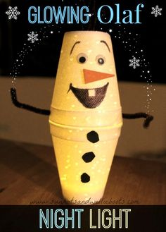 Disney Frozen Craft for Kids - Glowing Olaf. Simple, super cute Olaf night light craft for kids.