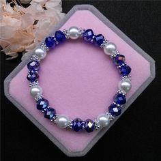 Wholesale Fashion Jewelry 8Mm Pearl 8Mm Crystal Beads Stretch Bracelet Fr11