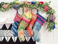 Image of Worldly Bohemian Decor christmas stockings boho Christmas Christmas Style, Bohemian Christmas, Merry Little Christmas, Christmas Holidays, Christmas Ideas, Vintage Christmas, Beach Christmas, Christmas Things, Homemade Christmas