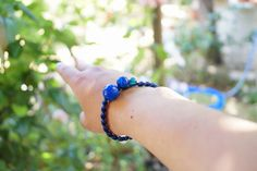 blue black hemp bracelet beads macrame gift unique handmade knotting beaded glass boho chic bohemian