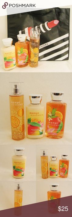 BBW Mango Mandarin Bundle +FREE Sephora Bag Bath& Body Works Mango Mandarin Bundle plus FREE Sephora Shopping Tote Bag . New. Unused. Luscious, juicy mango and mandarin mingle with energizing citrus notes in this mouthwatering fragrance. Includes:  ~ 8fl oz/236ml Fragrance Mist ~ 8fl oz/236ml Body Lotion ~ 10fl oz/295ml Shower Gel ⚜❌SWAP❌TRADE ⚜✔️❤️Bundles ⚜✔️Clean/Smoke-free/pet-free home Bath & Body Works Makeup