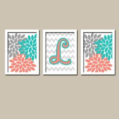 Turquoise Coral Gray Monogram Flower Burst Letter Initial Set of 3 Trio  Prints Chevron WALL Decor