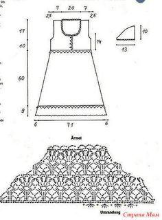 Это ажурное платье с завышеной талией планкой на груди и короткими рукавами смотрится очень нежно и романтично. Размер 38-40 Пряжа хлопок 500 гр. Крючки 2.5 мм и 3 мм.